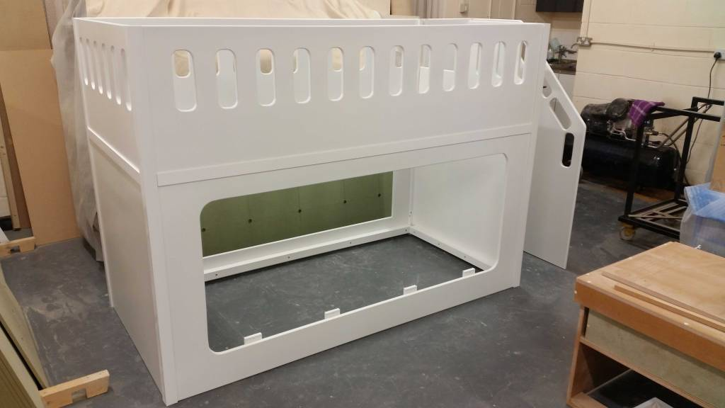 Cot Style Bed Twin with Safety Gate for the Stairs Finished in White