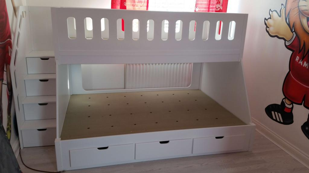 Bespoke Twin Sleeper with Double Bed Area on the Bottom Ample Storage Designed to Compliment Middlesbrough FC Interior Bedroom Design