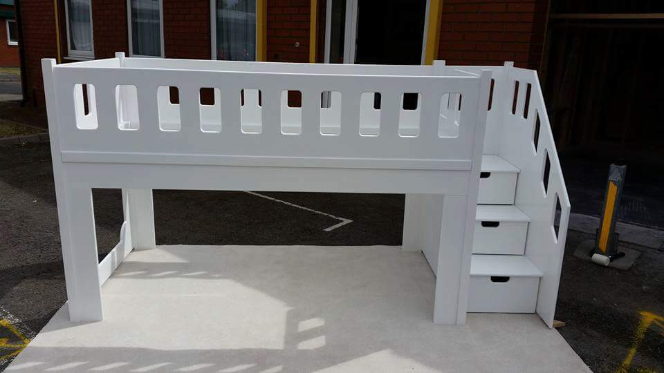 Bespoke Children's Bed Single Mid-Size Sleeper with Stairs and Storage Drawers with Playhouse Area Underneath