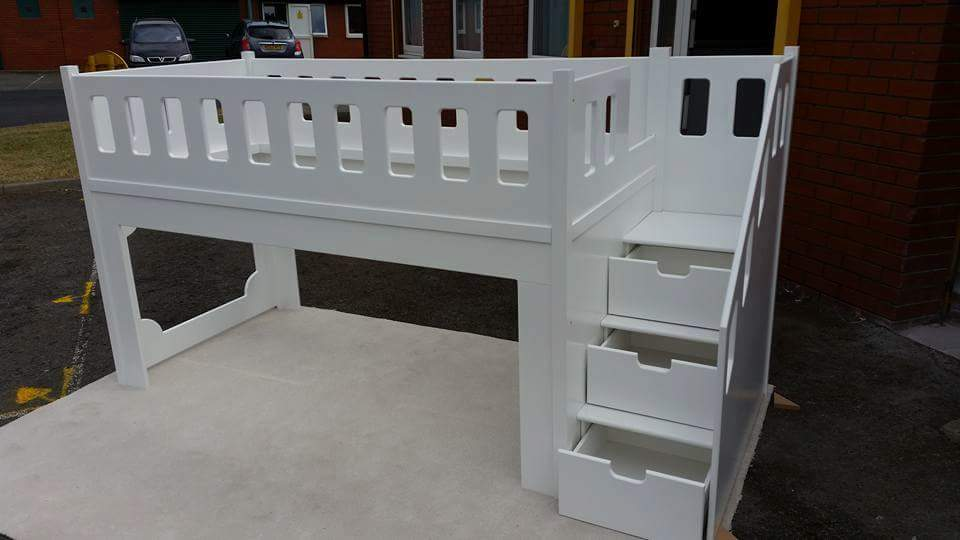Kids Bed Single Mid Sleeper wIth Stairs and Triple Drawers and Play Area
