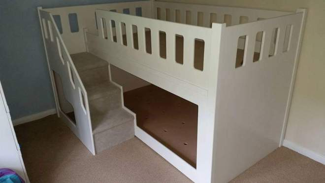 Bunk Bed Twin with Three Stairs Carpeted Including Under the Stairs Storage