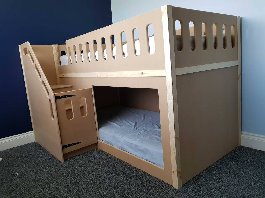 Twin Bunk Bed Unpainted with Safety Gate on the Stairs