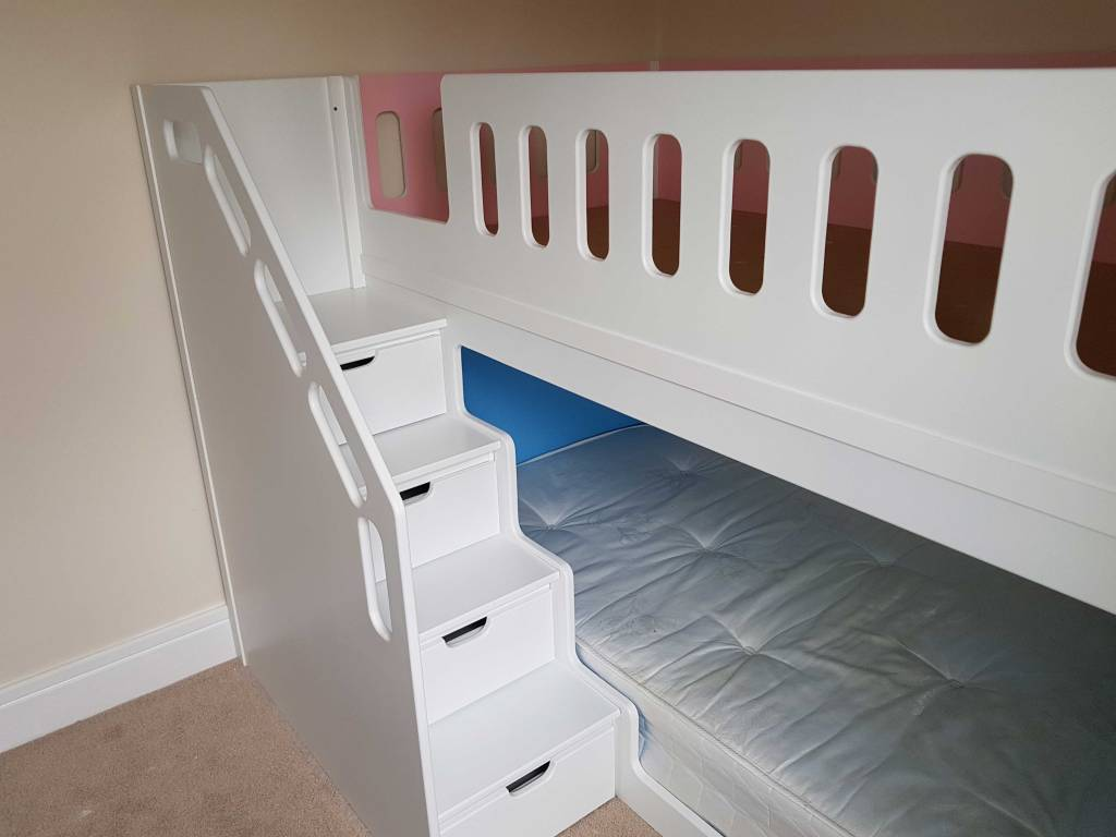Bunk Bed Twin High Sleeper Space Saver with Double Designed for Dual Use Boy and Girl in Pascal Blue and Pink Spray Finish