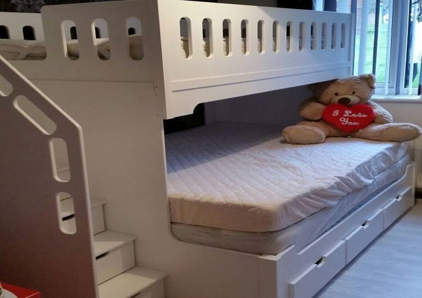 Sleepover Hand Built Twin High Sleeper Childs Bed With Double Base and Drawers