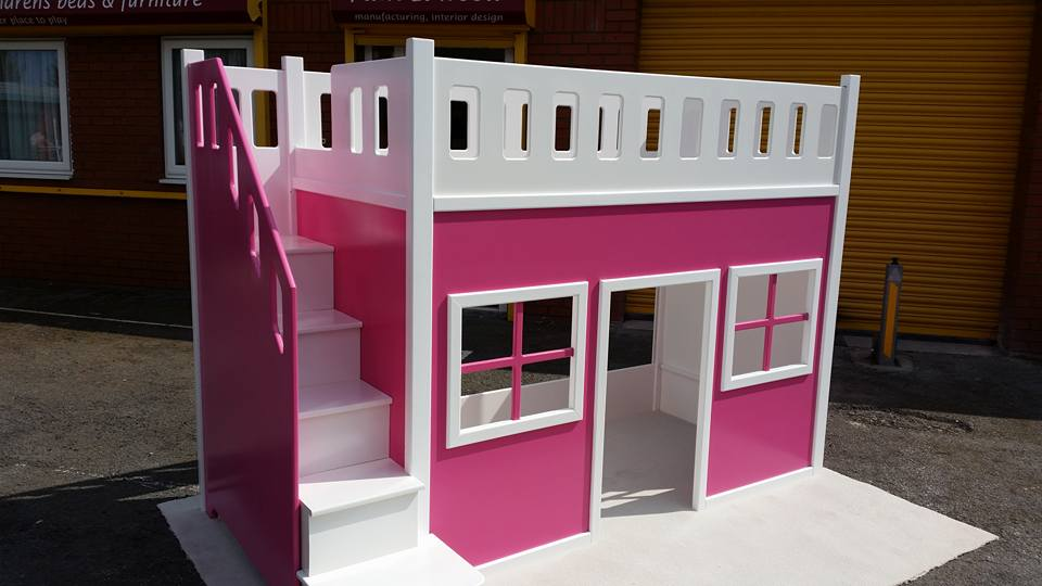 Playhouse Bed High Sleeper With Georgian Windows and Internal Storage and Stairs in Pink and White