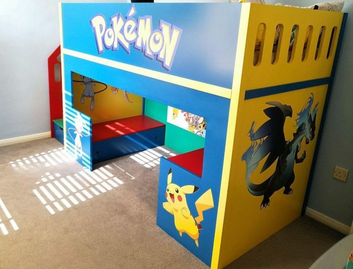 The Pokemon Themed is a mid sleeper with a desk and seating area with draws under the seat. There are five stairs and plenty of storage space finished in a multi coloured spray paint