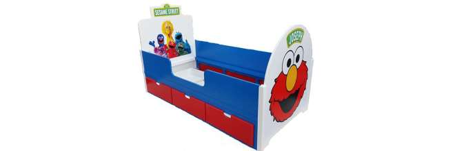 Sesame Street Elmo Children's Themed Bed with Triple Drawers and Character Decals and Childs Name Added
