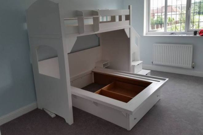 Children's High Twin Sleeper Bed With Double Base and Drawers