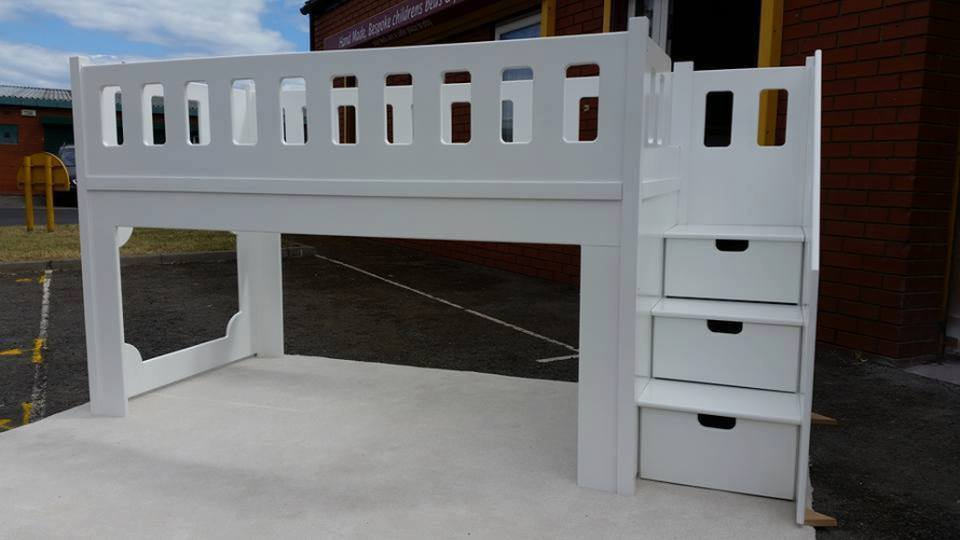 Single Bed Mid Sleeper Underneath Play Area Three Draws in White Spray Finish
