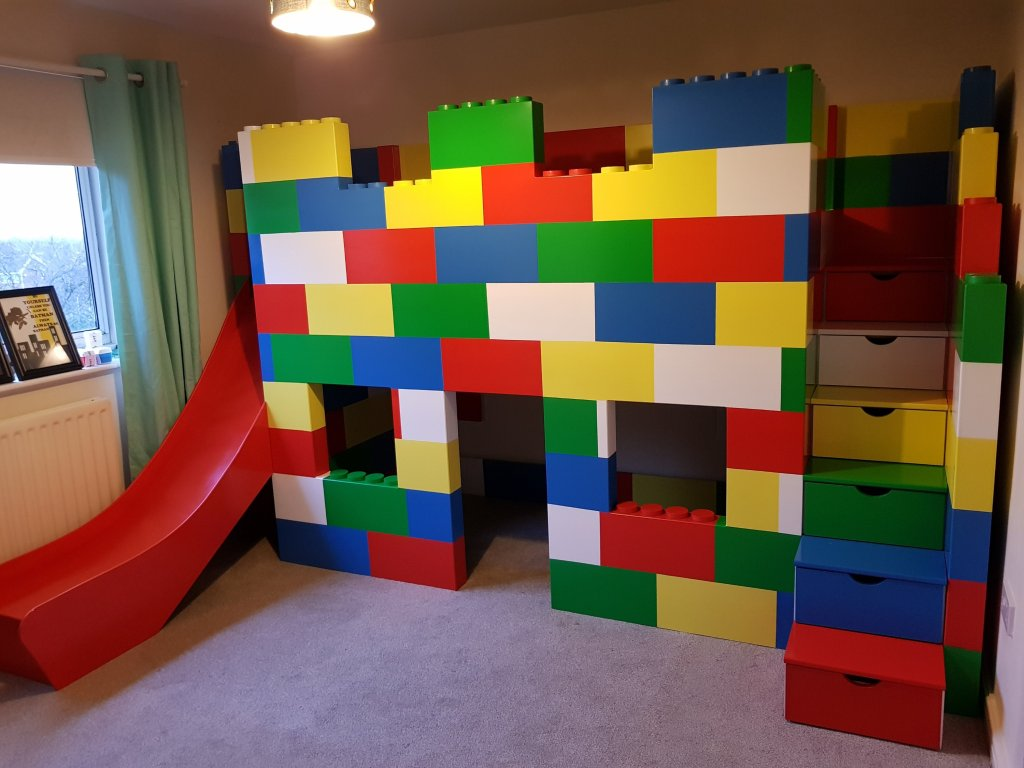 Lego Block Playhouse Bed With A Slide Plan Itwood