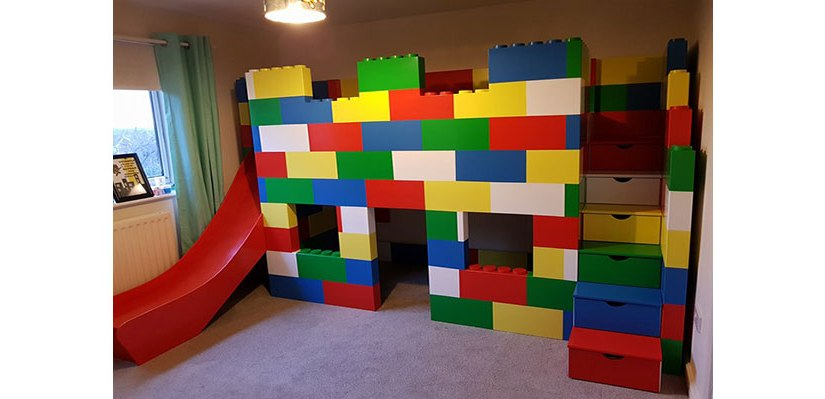Lego Block Playhouse Bed With ASlide