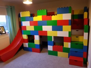Lego Block Playhouse Bed With A Slide