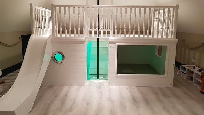 Playhouse Double Bed With Slide And Firemans Pole Plan