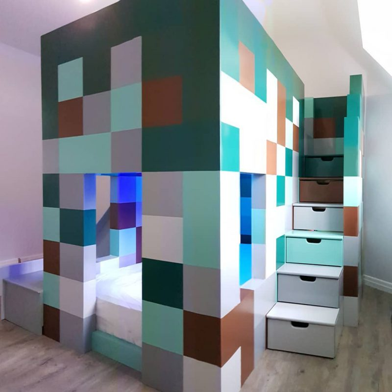 Minecraft Colour Themed Twin Sleeper bed