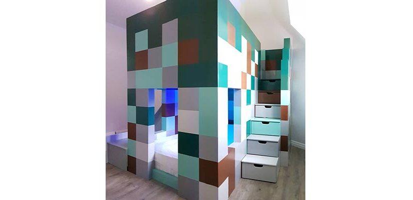 High Twin Sleeper Minecraft Colour ThemedBed
